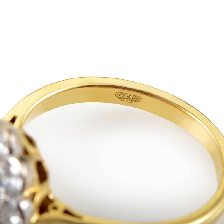 Garrard Orange and White Diamond Multi-Color Gold Flower Ring 4