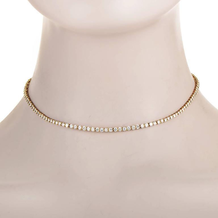Tiffany & Co. Yellow Gold Diamond Tennis Necklace 2