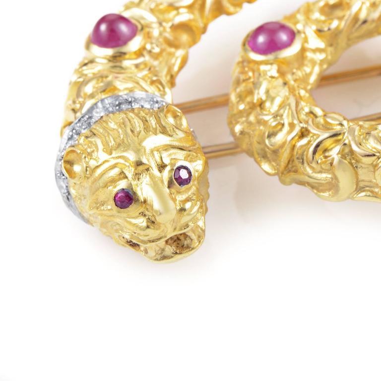 Ilias Lalaounis Ruby Diamond Multi-Color Gold Snake Pin 2