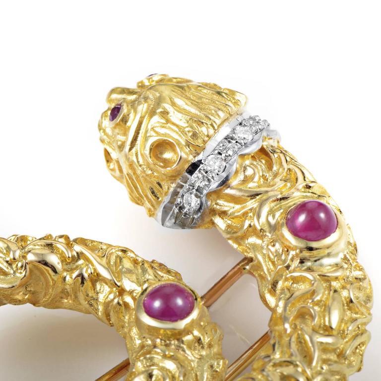 Ilias Lalaounis Ruby Diamond Multi-Color Gold Snake Pin 3