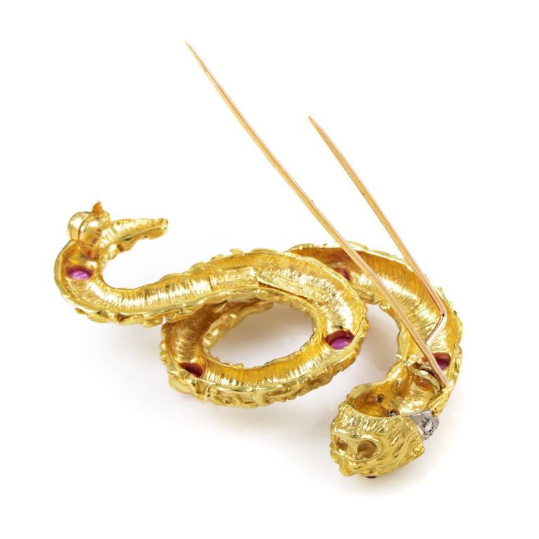 Ilias Lalaounis Ruby Diamond Multi-Color Gold Snake Pin 4