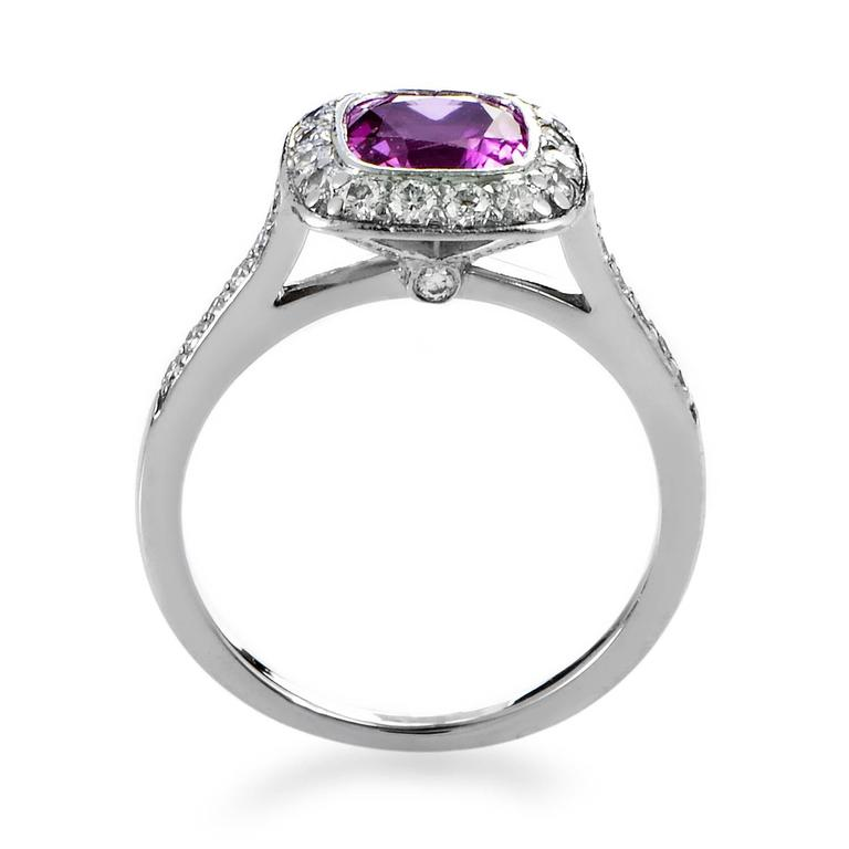 349d969e830a Tiffany   Co. Legacy Pink Sapphire Diamond Platinum Ring For Sale. To  create a pedestal worthy of the delightfully glistening pink sapphire  weighing ...