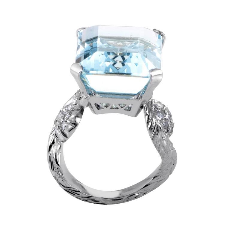 Aquamarine Diamond Gold Ring 2