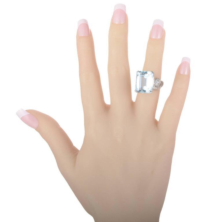 Aquamarine Diamond Gold Ring 4