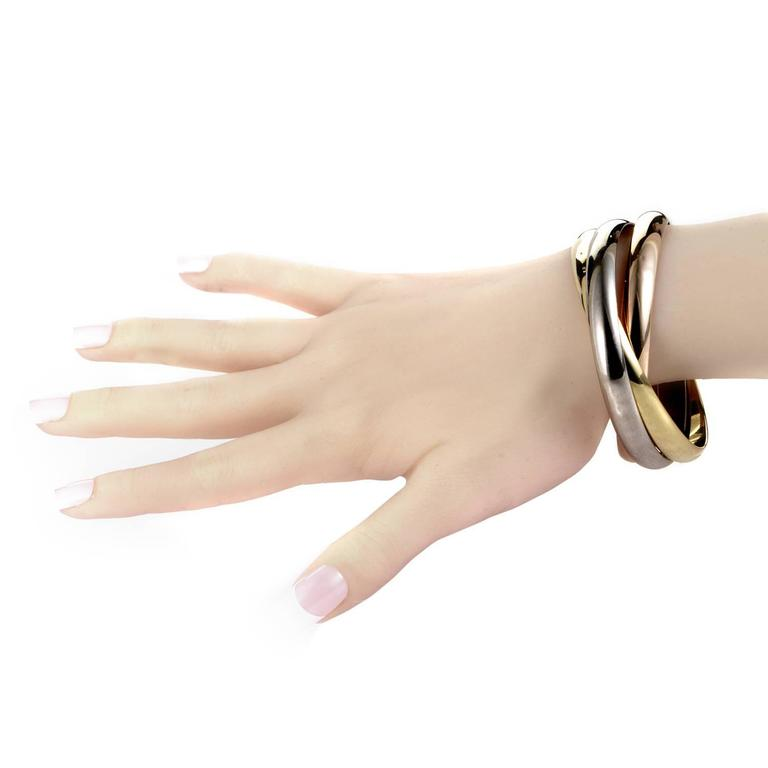 Cartier Trinity Three Color Gold Rolling Bangle Bracelet ...
