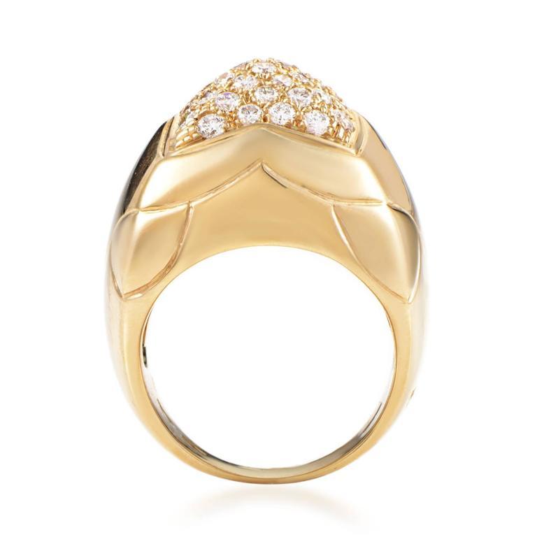 bulgari piramide diamond pave gold ring 2