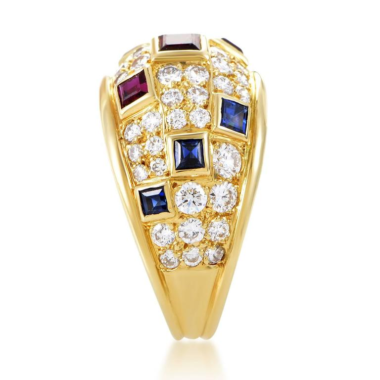Piaget Precious Gemstone Diamond Gold Band Ring In Excellent Condition For Sale In Southhampton, PA