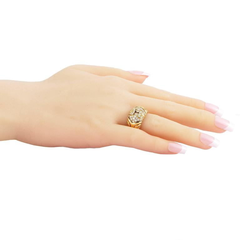 Women's Bulgari Alveare Diamond Yellow Gold Band Ring For Sale