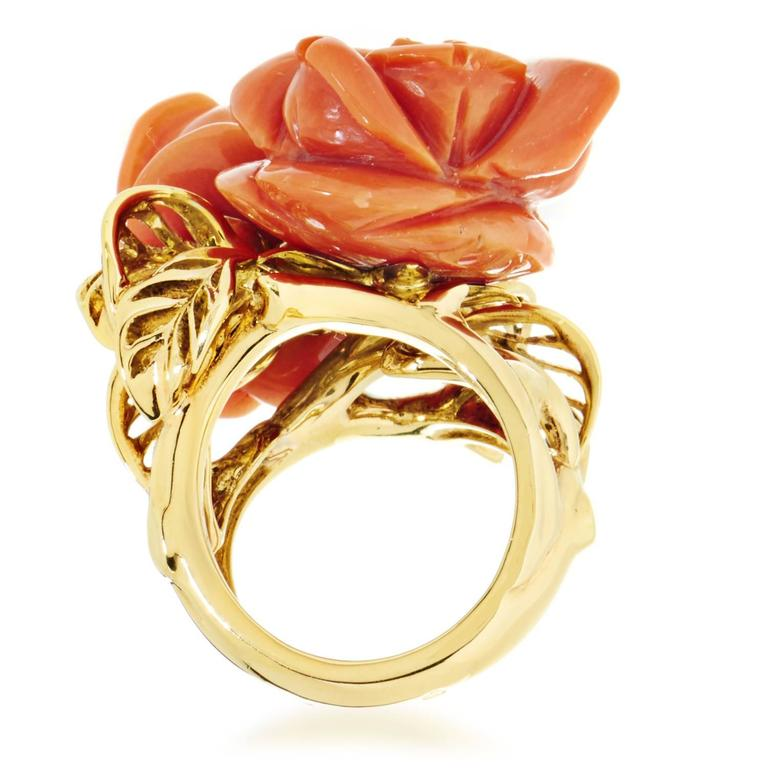 Dior Pré Catelan Coral Diamond Gold Rose Ring 3