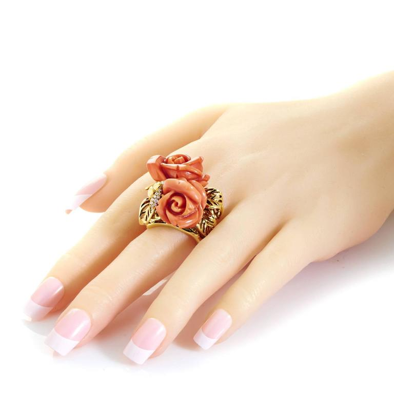 Dior Pré Catelan Coral Diamond Gold Rose Ring 4