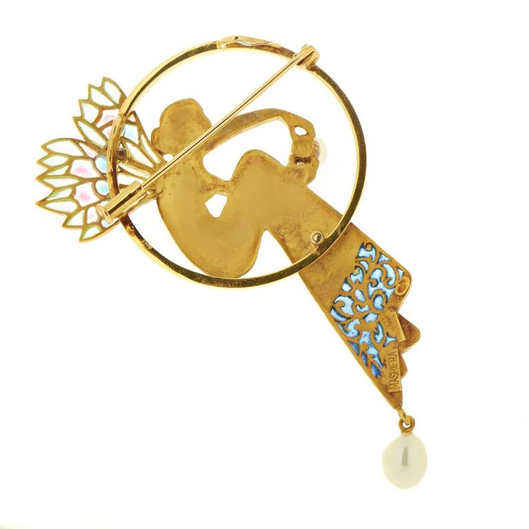 Masriera Enameled Pearl Gold Pendant Brooch 2