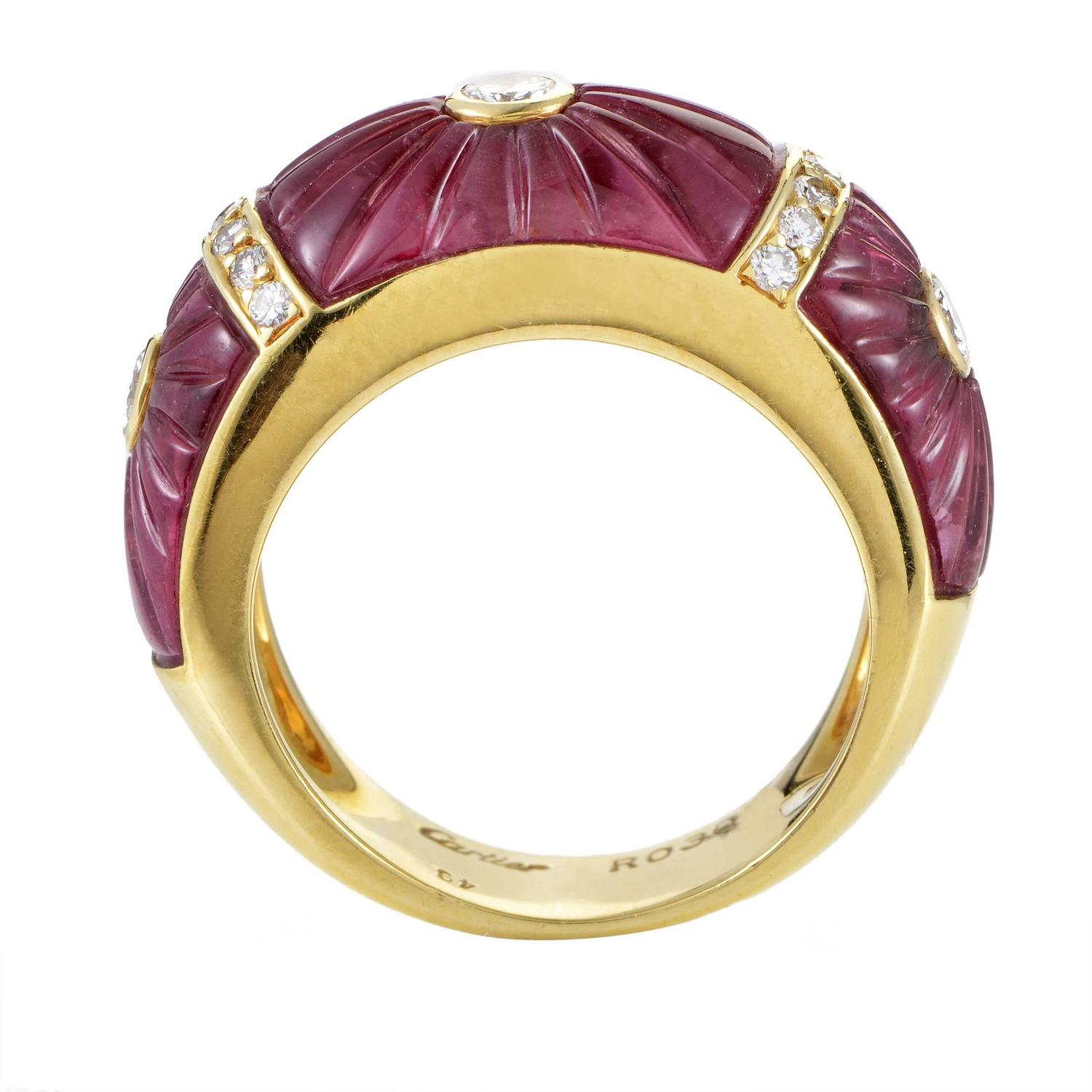 Cartier Pink Tourmaline Diamond Gold Band Ring For Sale at ...