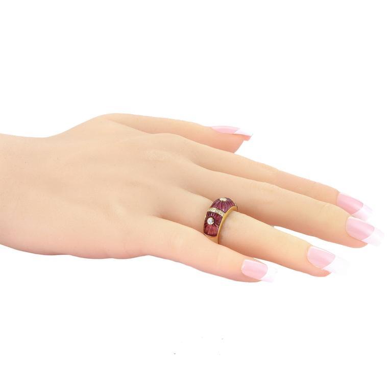 Women's Cartier Pink Tourmaline Diamond Gold Band Ring For Sale