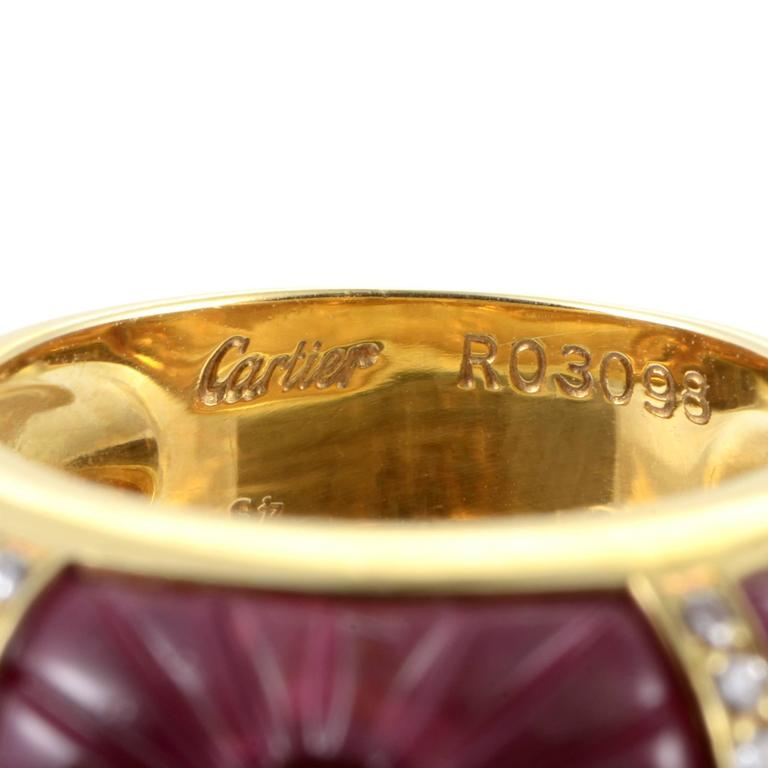 Cartier Pink Tourmaline Diamond Gold Band Ring For Sale 1