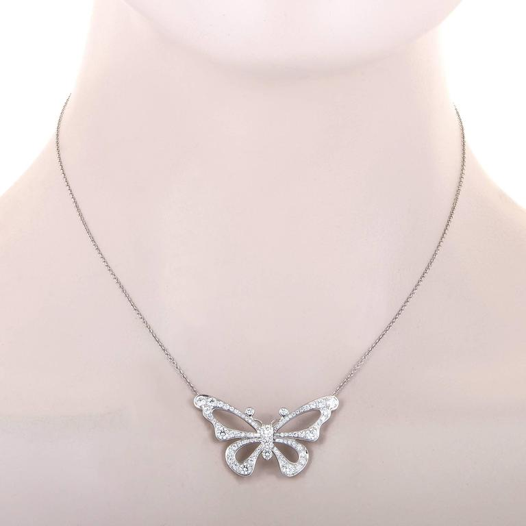 Tiffany & Co. Enchant Diamond Platinum Butterfly Pendant Necklace 2