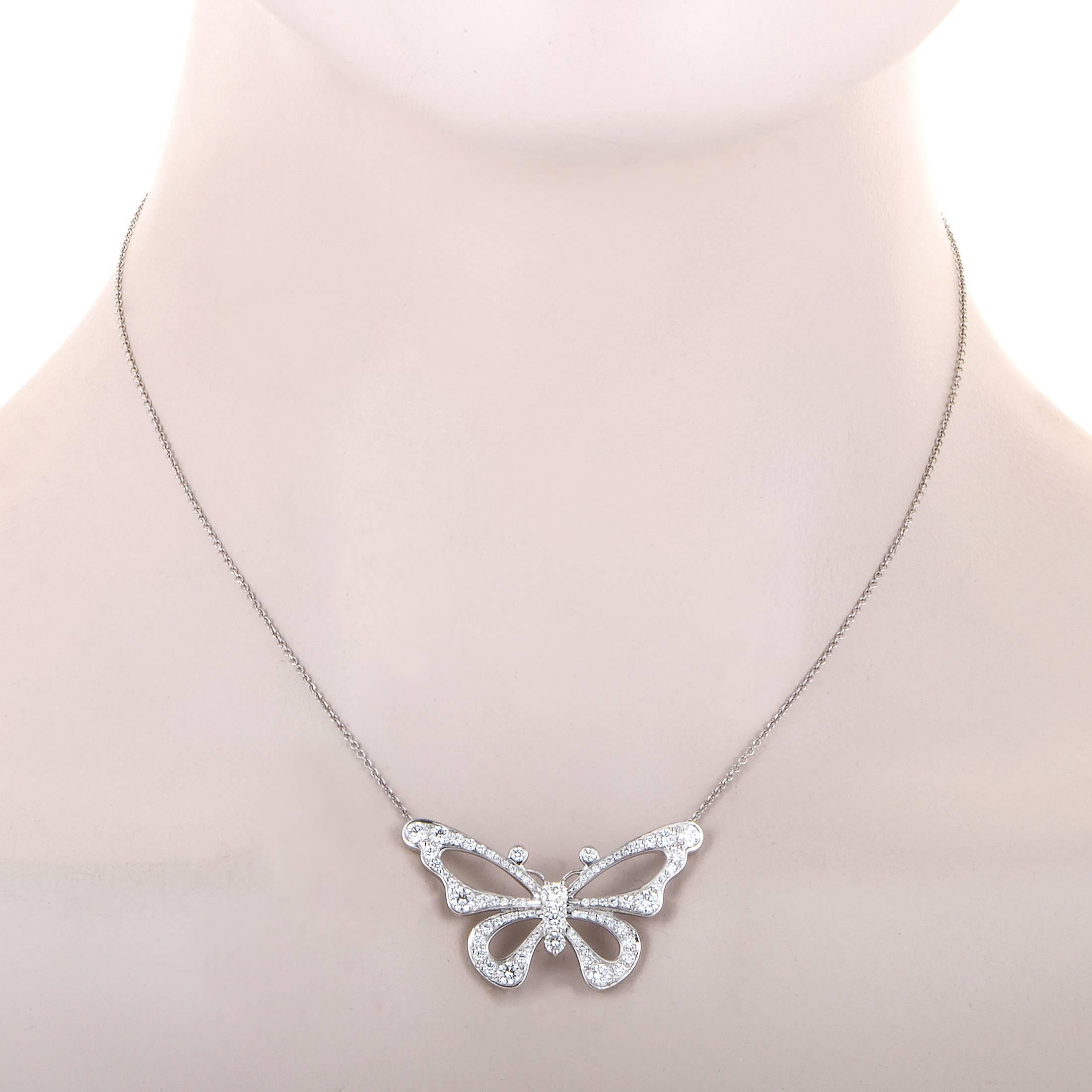 a87b35ab3 Tiffany and Co. Enchant Diamond Platinum Butterfly Pendant Necklace ...