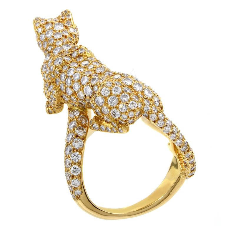 Cartier Panthere Yellow Gold Full Diamond Pave Ring 2