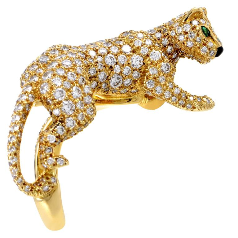 Cartier Panthere Yellow Gold Full Diamond Pave Ring 3
