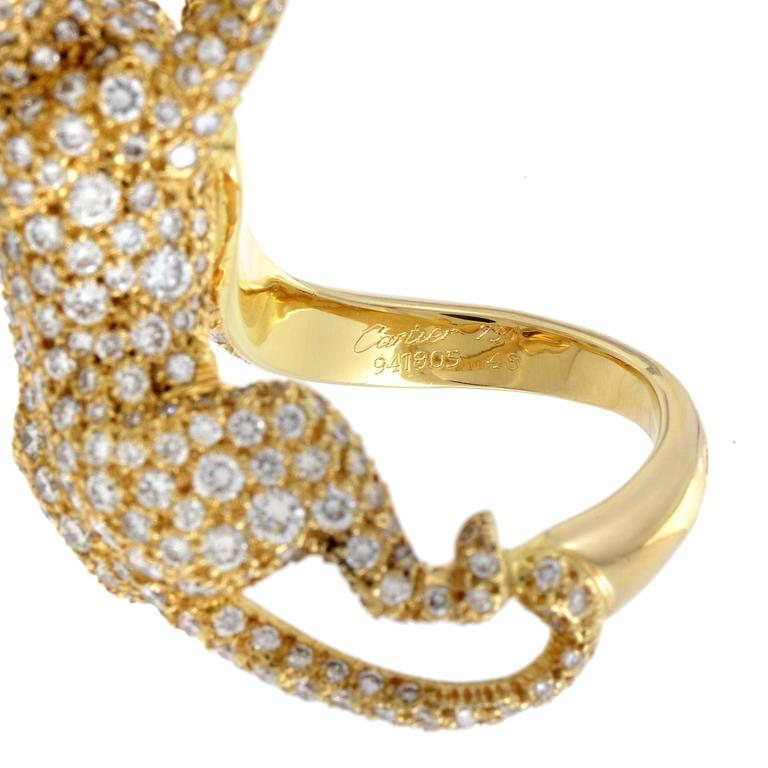 Cartier Panthere Yellow Gold Full Diamond Pave Ring 5