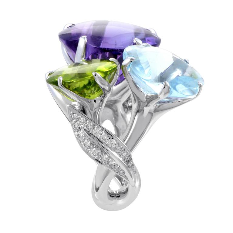 Chanel white gold diamond and triple gemstone flower for Triple j fine jewelry