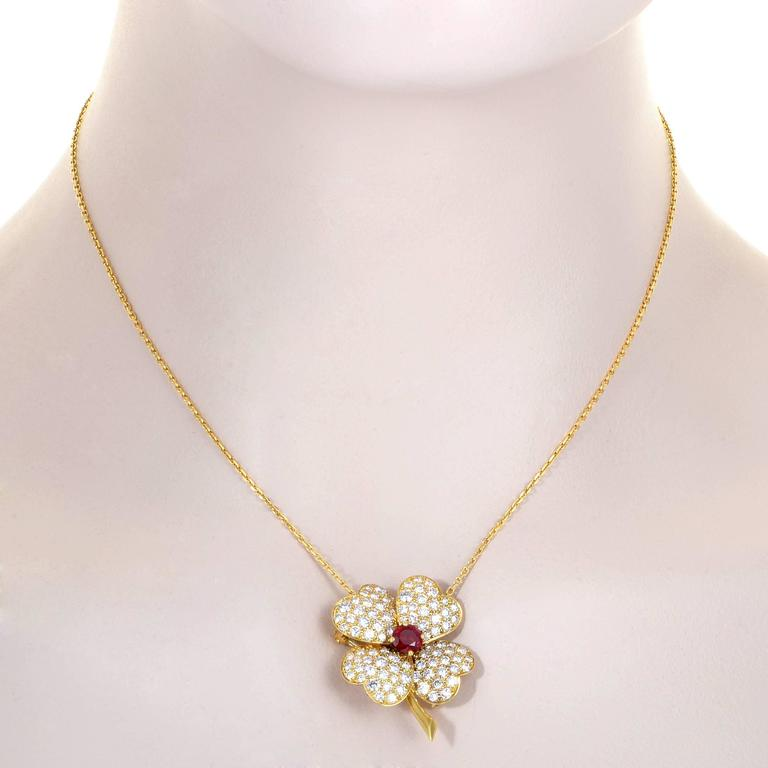Van cleef and arpels cosmos yellow gold diamond and ruby pendant van cleef arpels cosmos yellow gold diamond and ruby pendant necklace and ring in excellent aloadofball Gallery