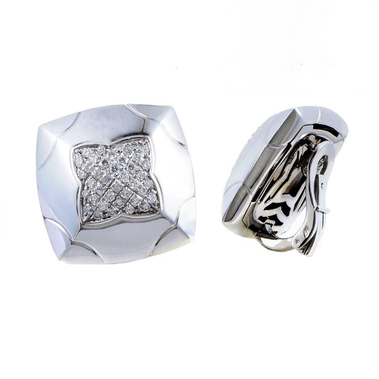 Bulgari Piramide White Gold Partial Diamond Pave Clip-On Earrings In Excellent Condition For Sale In Southhampton, PA
