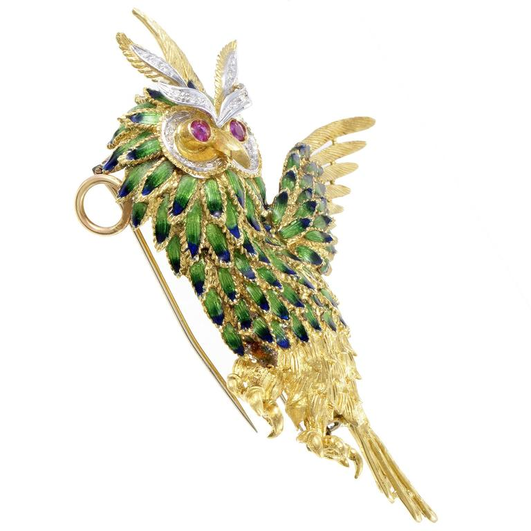 Enameled Multi-Tone Gold Diamond and Ruby Owl Brooch 2