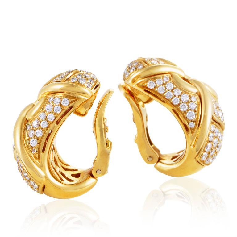 bulgari trika yellow gold diamond pave clipon earrings 3