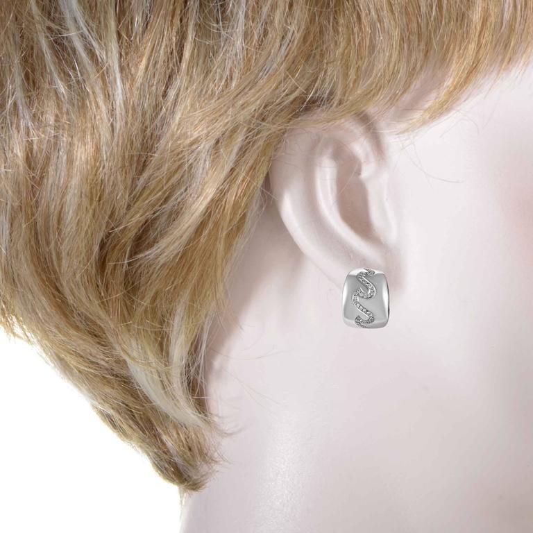 Van Cleef & Arpels White Gold Diamond Wave Huggie Earrings 2