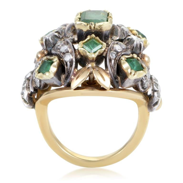 Antique Diamond Emerald Yellow Gold Silver Cocktail Ring 2