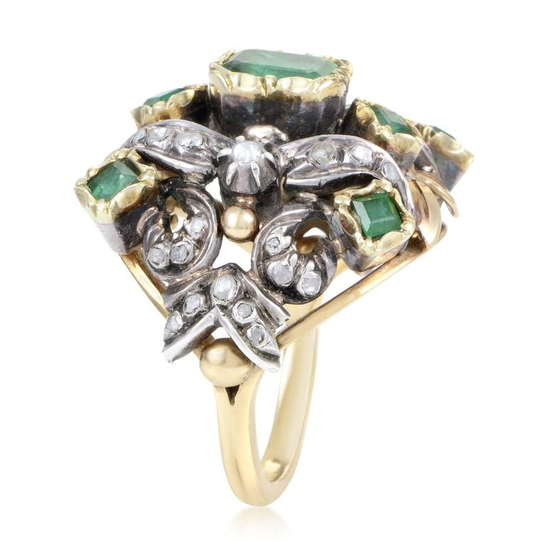 Antique Diamond Emerald Yellow Gold Silver Cocktail Ring 3