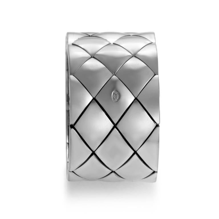 Chanel Matelasse White Gold Wide Band Ring In Excellent Condition For Sale In Southhampton, PA
