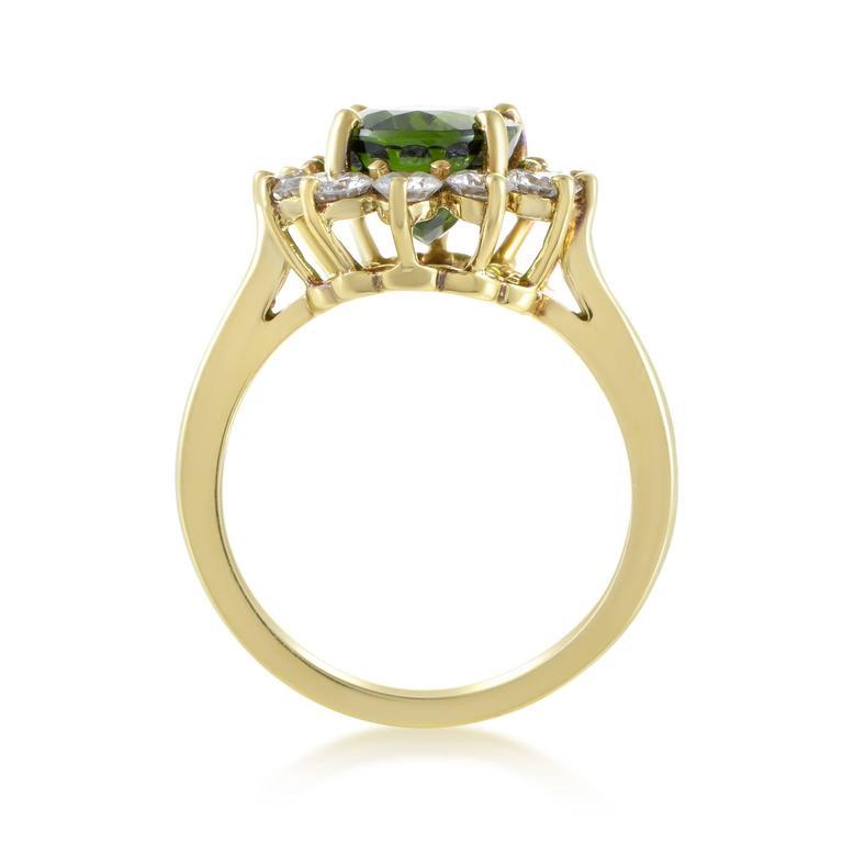 Tiffany & Co. Diamond Tourmaline Yellow Gold Ring 2