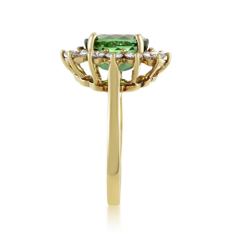 Tiffany & Co. Diamond Tourmaline Yellow Gold Ring In Excellent Condition For Sale In Southhampton, PA