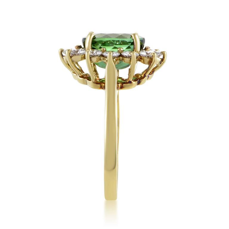 Tiffany & Co. Diamond Tourmaline Yellow Gold Ring 3
