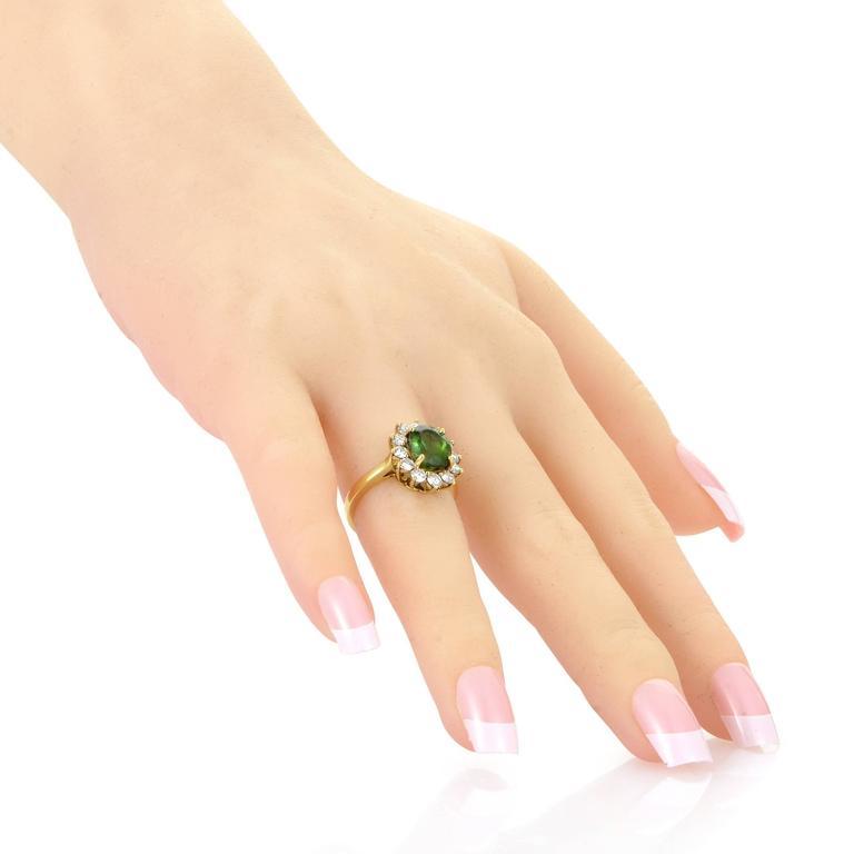 Tiffany & Co. Diamond Tourmaline Yellow Gold Ring 4