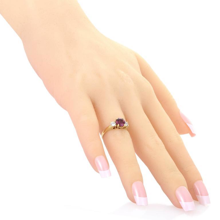 Women's Tiffany & Co. Diamond Pink Tourmaline Yellow Gold Ring For Sale