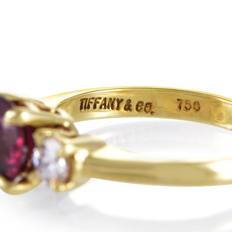 Tiffany & Co. Diamond Pink Tourmaline Yellow Gold Ring For Sale 1