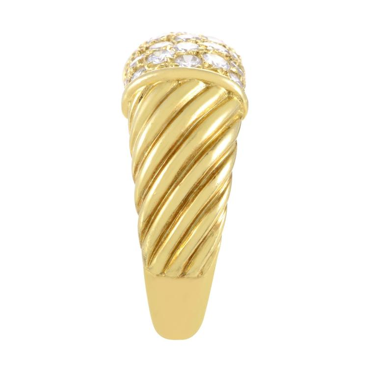 Van Cleef & Arpels Partial Diamond Pave Ridged Gold Band Ring In Excellent Condition For Sale In Southhampton, PA