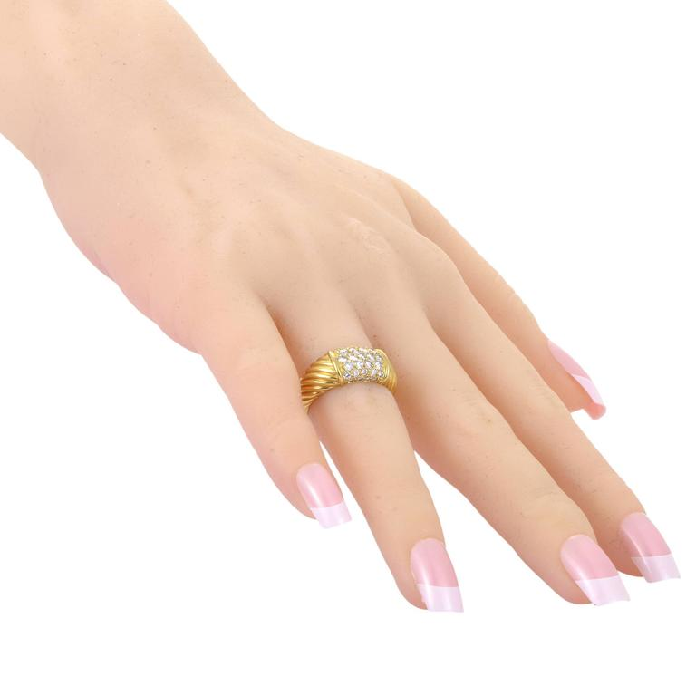 Women's Van Cleef & Arpels Partial Diamond Pave Ridged Gold Band Ring For Sale