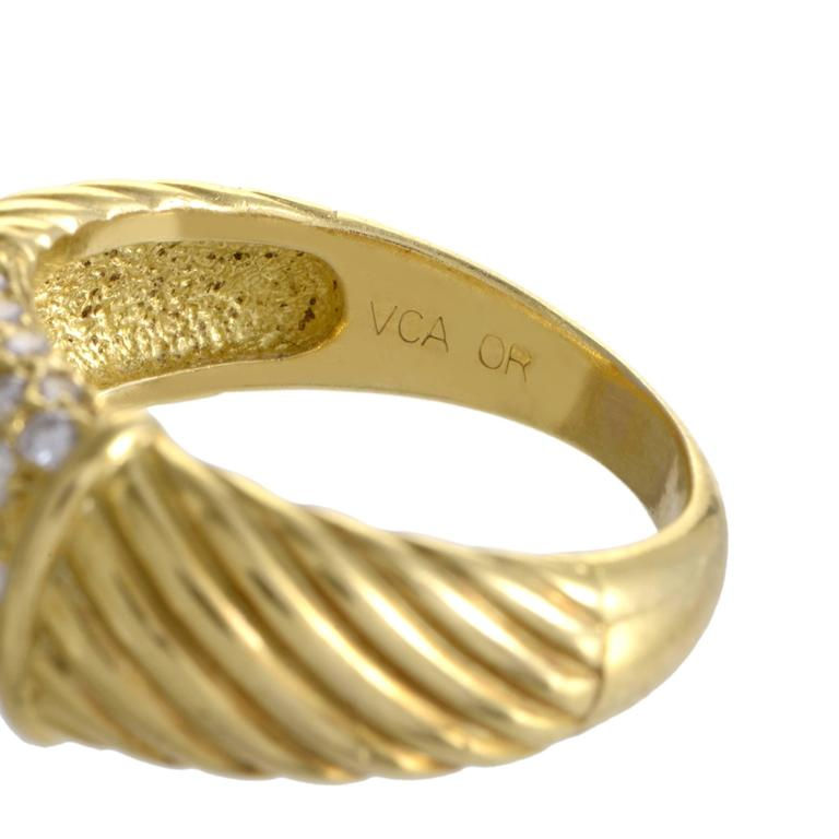 Van Cleef & Arpels Partial Diamond Pave Ridged Gold Band Ring For Sale 1