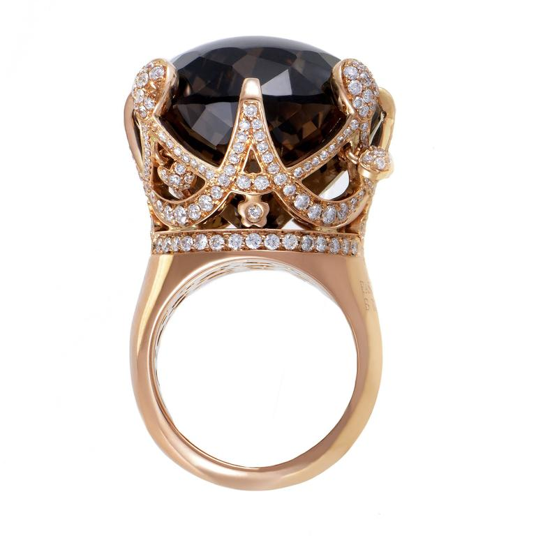 Pasquale Bruni Sissi Diamond Smoky Quartz Gold Ring At 1stdibs