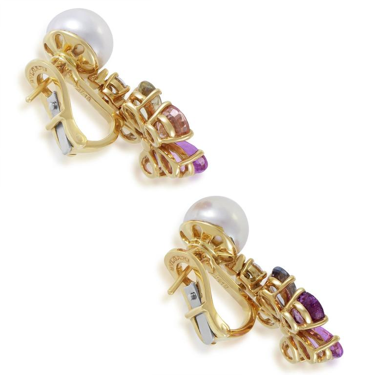 Bulgari Pearl Shire Diamond Gold Flower Earrings In Excellent Condition For Southhampton Pa