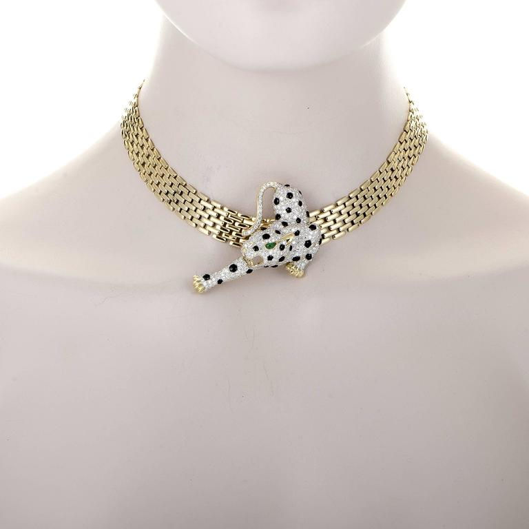 Diamond Pave Snow Leopard Brooch Pendant And Gold Necklace