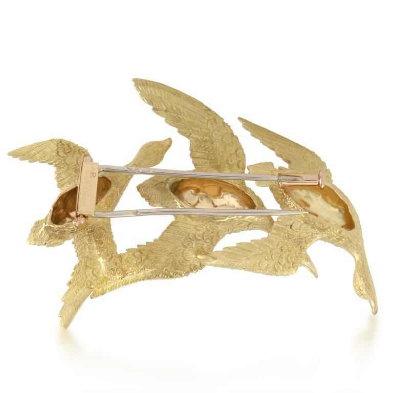 Hermes 1950s Sapphire and Yellow Gold Flock of Geese Brooch 2