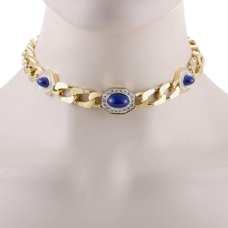Diamond and Lapis Lazuli Yellow and White Gold Choker Necklace 2