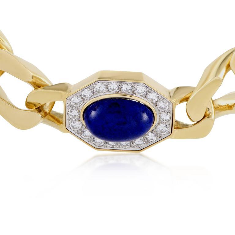 Diamond and Lapis Lazuli Yellow and White Gold Choker Necklace 3