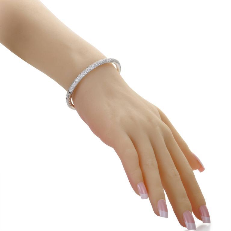 David Yurman Diamond Pave White Gold Bangle Bracelet 2