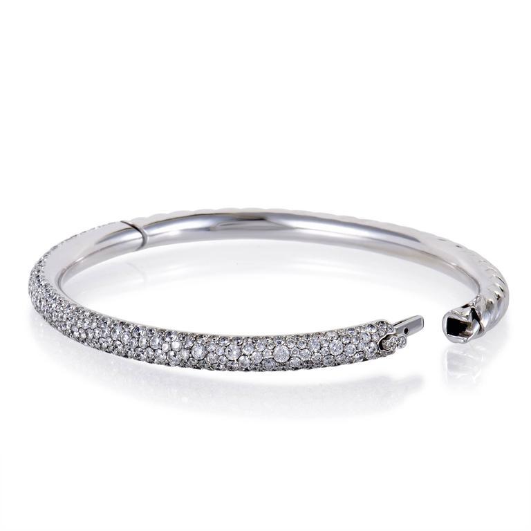 David Yurman Diamond Pave White Gold Bangle Bracelet 3