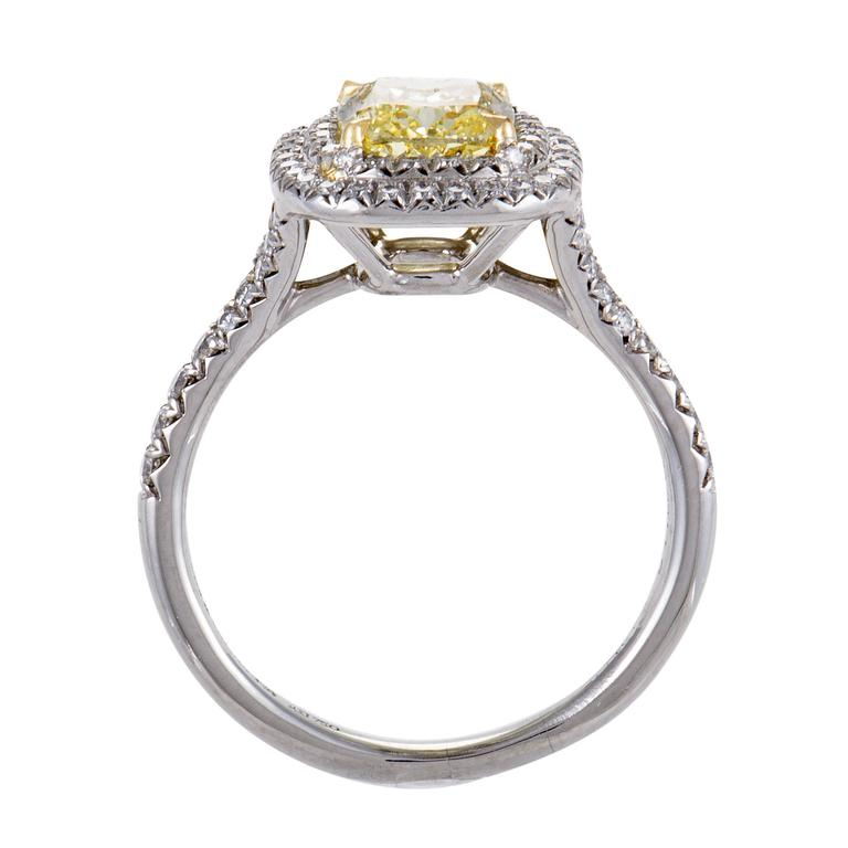 Tiffany & Co. Soleste White and Yellow Diamond Gold Platinum Engagement Ring 2